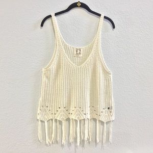 PPLA clothing Dia Tank knit with fringe Tank Top